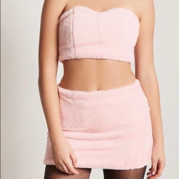 ba8cae1e2e Forever 21 Dresses   Skirts - Pink Faux Fur Set - Tube Top Skirt